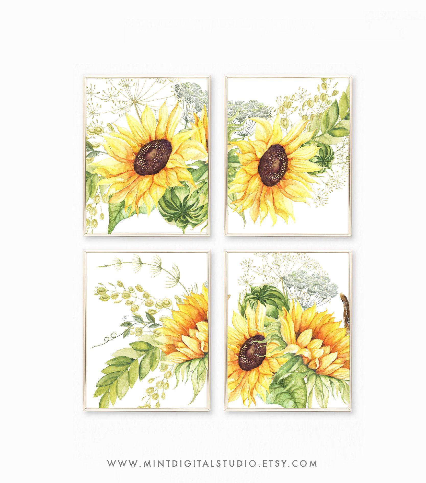 Watercolor Yellow Sunflowers Printable Art, Sunflower Painting ...