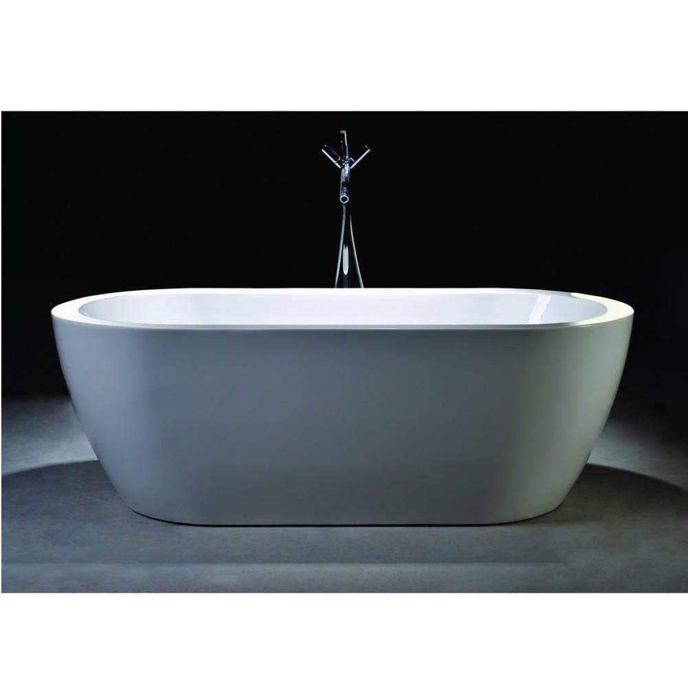Vanity Art Freestanding White Acrylic 68-Inch Oval Soaking Bathtub ...