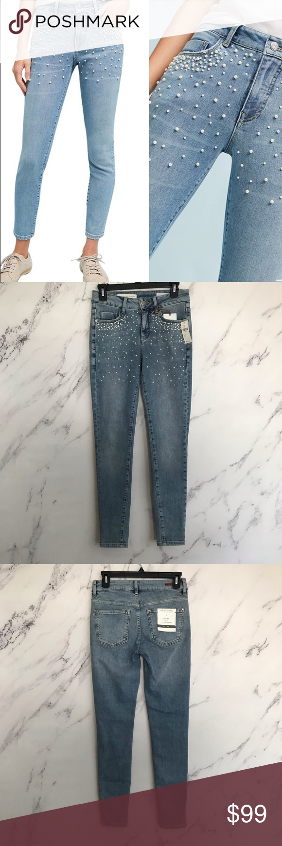 b4d727be5d7f7f Pilcro | 25 Script High Rise Pearl Skinny Jeans This pearl-embellished pair  in a