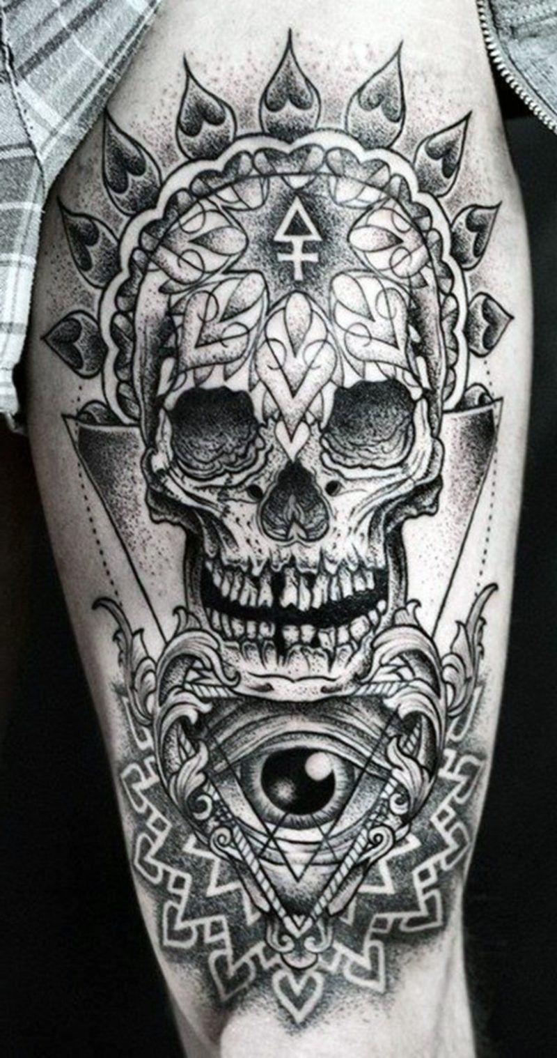 972c5ddf6 Skull Tattoo - Ideas and Symbolism #thinblue #wicked #blueline #sugarskull  #tattoodesigns