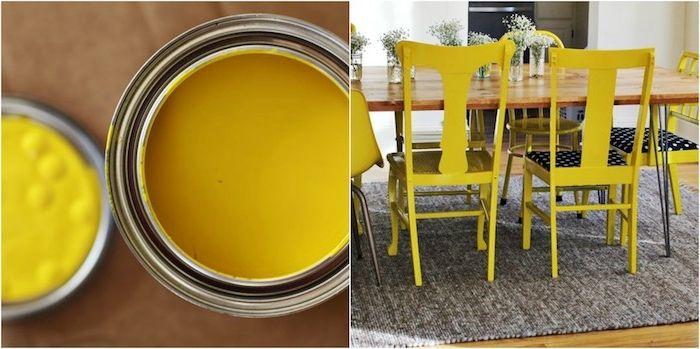 chaise relookée de peinture couleur jaune pour votre salle à manger