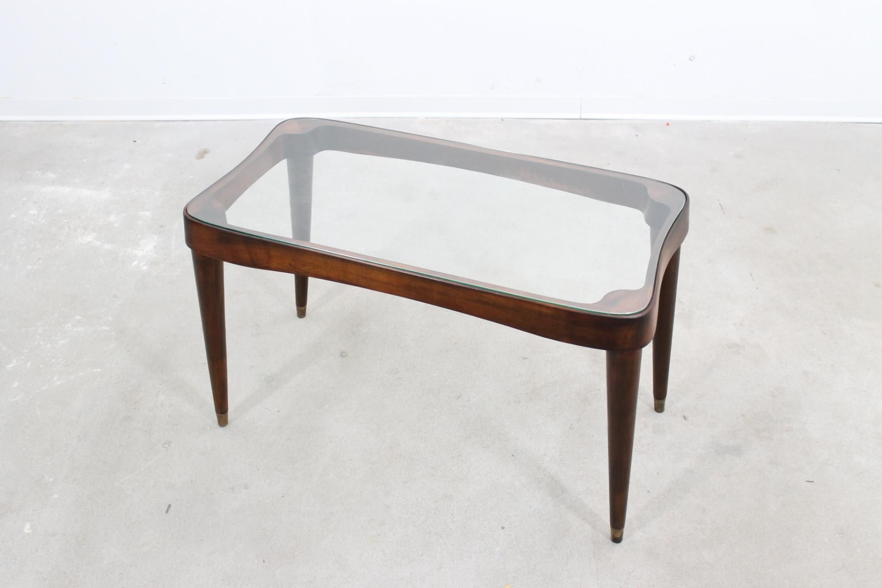 Mid Century Coffee Table with Glass Top by Gio Ponti brass feet