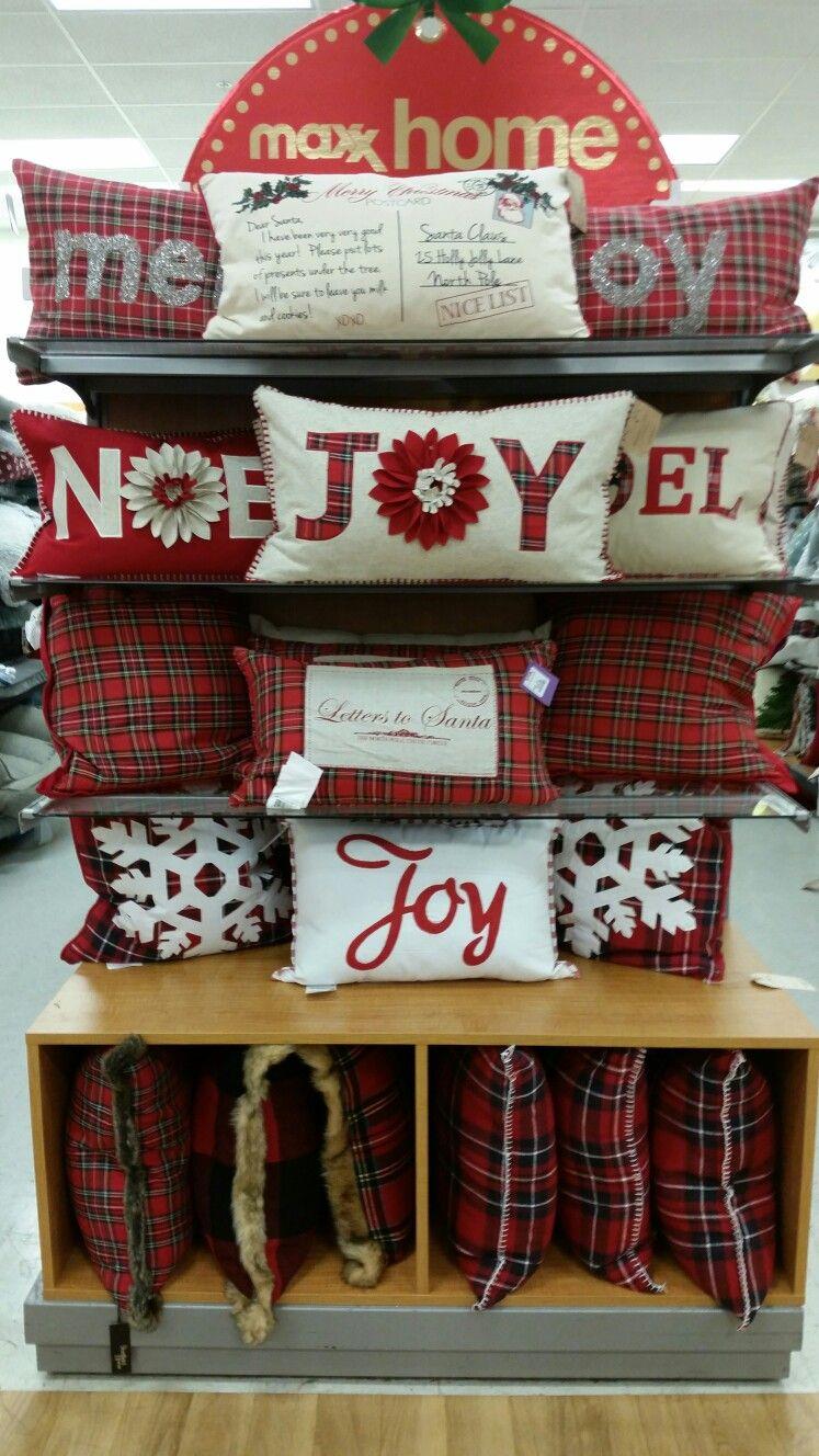 Tj maxx 1366. Christmas pillow endcap. | Decorative holiday ...