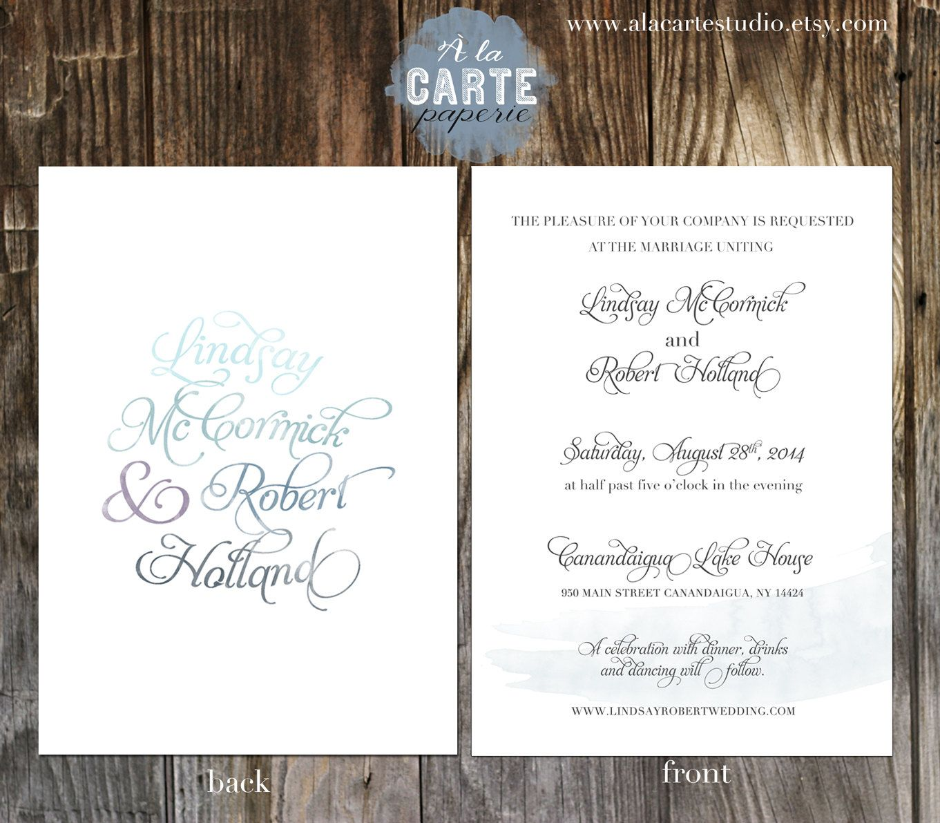 Watercolor Calligraphy Wedding Invitation Suite Delicat