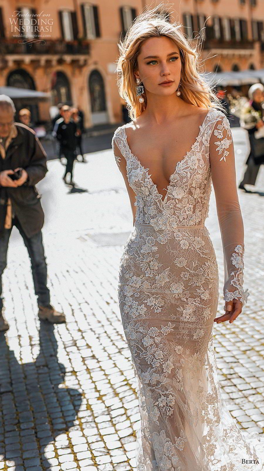32192c0b749b Weddinginspirasi.com featuring - berta 2020 privee bridal long sleeves deep  v neck full embellishment