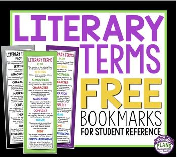 Free Literary Terms Bookmarks Saved By The Bell School School