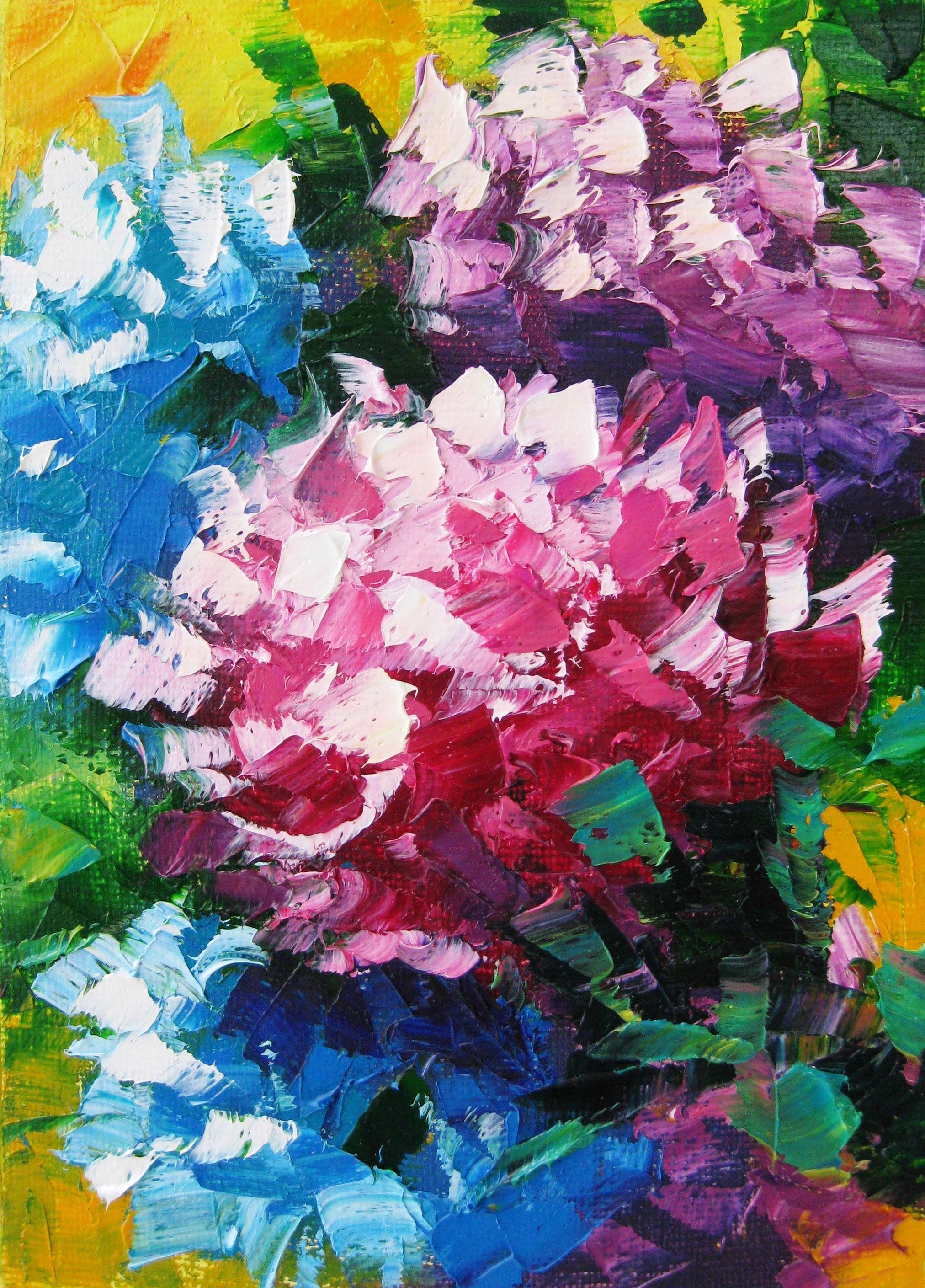 Palette knife decor. Floral art oil. Flower painting on