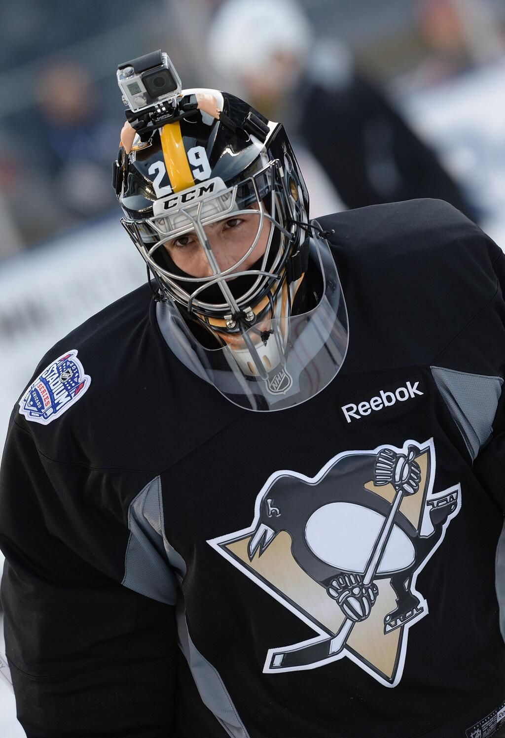 """MarcAndre Fleury with his new """"Steeler"""" inspired mask for"""