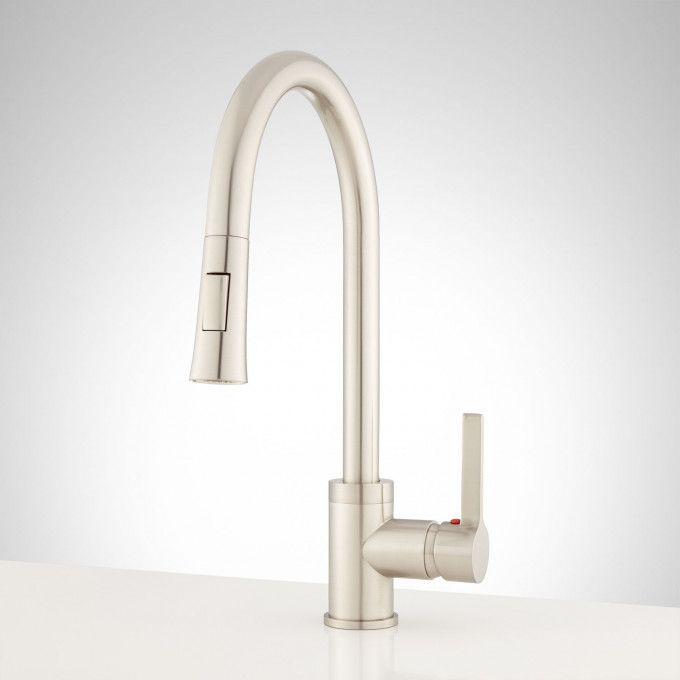 Brewer Single Hole Pull Down Kitchen Faucet Brushed Nickel