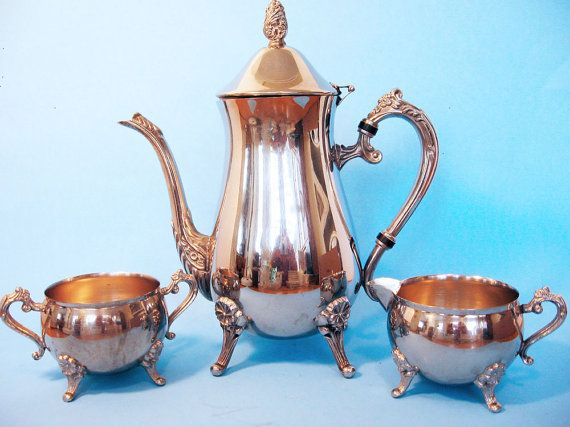 Silver plated tea or coffee set, footed silver set ...