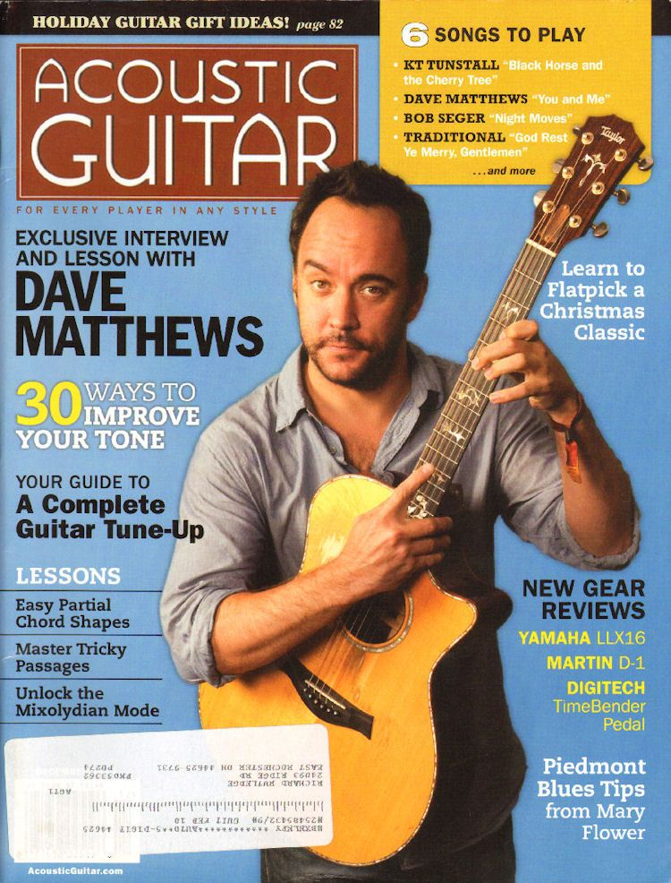 2009 December Acoustic Guitar Magazine Back Issue Acoustic Guitar Magazine Dave Matthews Guitar Magazine