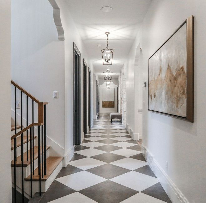 Grey And White Dal Tile Hallway Modern French Chateau Style Custom Home Design French Chateau Interiors Chateaux Interiors French Country House