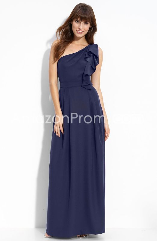 Ruffles A-Line Tea-length One-Shoulder Silk Taffeta Bridesmaid Dress