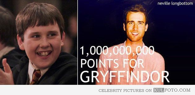 """Neville Longbottom scored some points - Then and now pictures of Matthew Lewis who played Neville Longbottom in Harry Potter movies. He grew up to be a hot young man: """"1,000,000,000 points for Gryffindor!"""""""