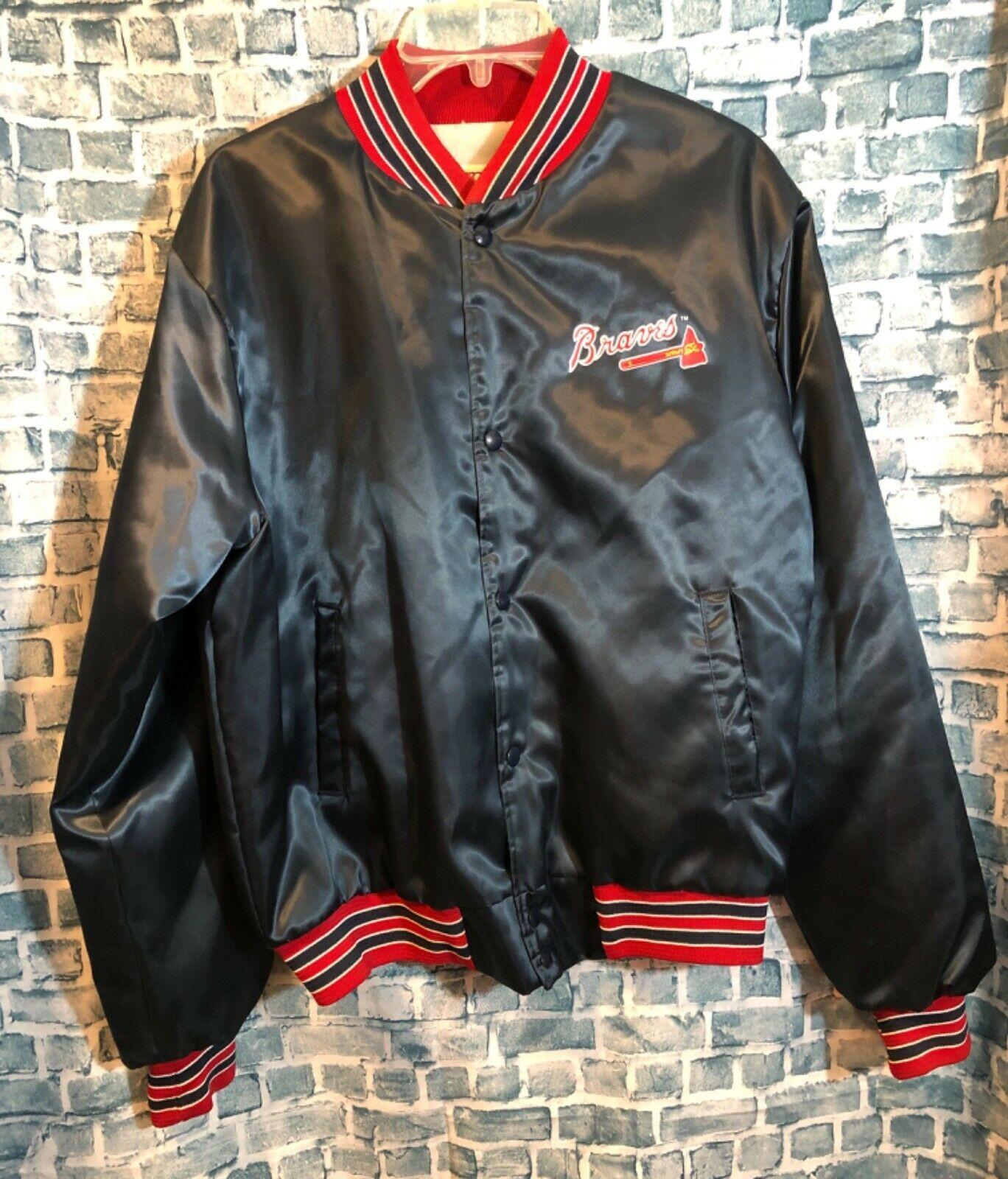 Vtg Locker Line Atlanta Braves Mlb Mens Sz M Satin Varsity Jacket 90s Retro Atlanta Braves Braves Jackets