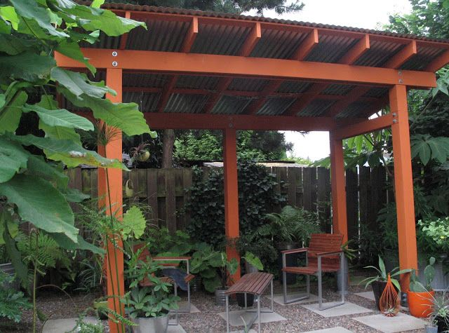 Pergola with corrugated tin roof Idyll Haven: Live Dangerously! - Metal Roof For Pergola Options Metal Roof, Tins And Gazebo