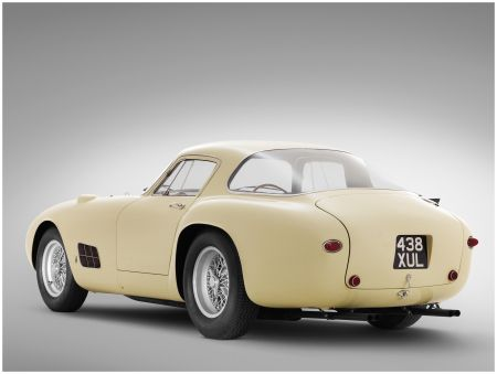 1955 Ferrari 410 Berlinetta Speciale (1955) – Since Ferrari's 410 S was developed specifically as a factory race car, it was rare for an unused chassis to be sent directly to Scaglietti for a road-going Coupe body. Such is the case with chassis 0592CM, prepared for Michel-Paul Cavallier. He was a French industrialist who already had an impressive stable of custom Ferraris in his garage including an opulent Superamerica with Pinin farina bodywork. #White #Fifties #ItalianDesign #TwoDoor