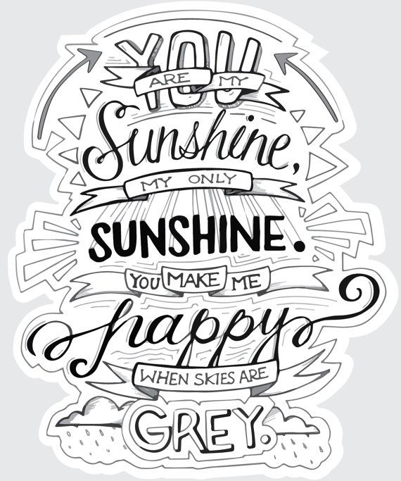 You Are My Sunshine Typography Quote Decal Poster Products