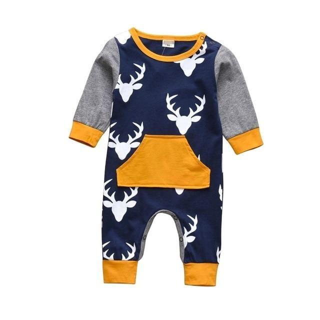 Baby Boy & Girl 100% Soft Cotton Long Sleeve Deer Romper - Blue/Yellow / 18M