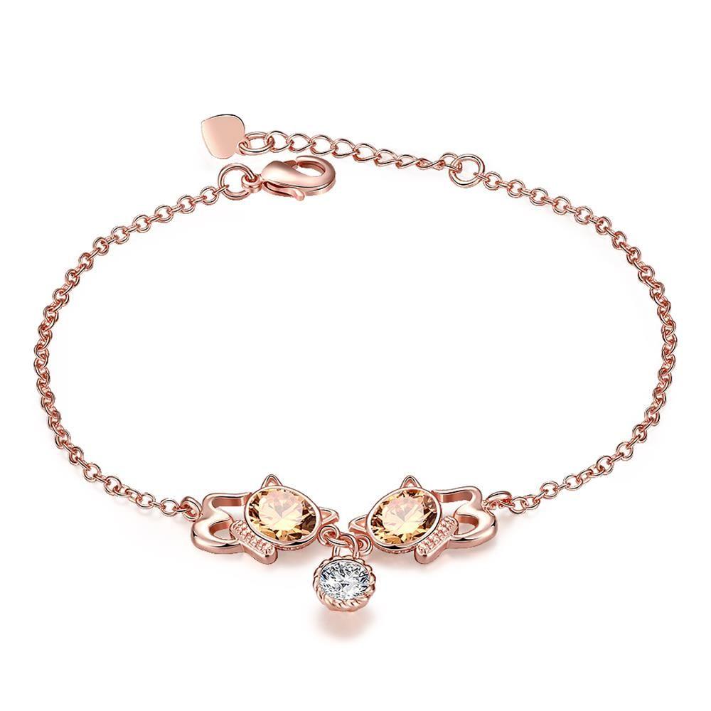 Rose gold rhinestonelittle cat kitty design bracelet european style