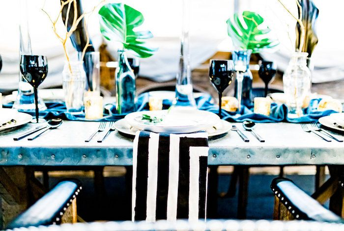 Tropical Table Setting From A Luxe Tropics Dinner Party On Karas Ideas
