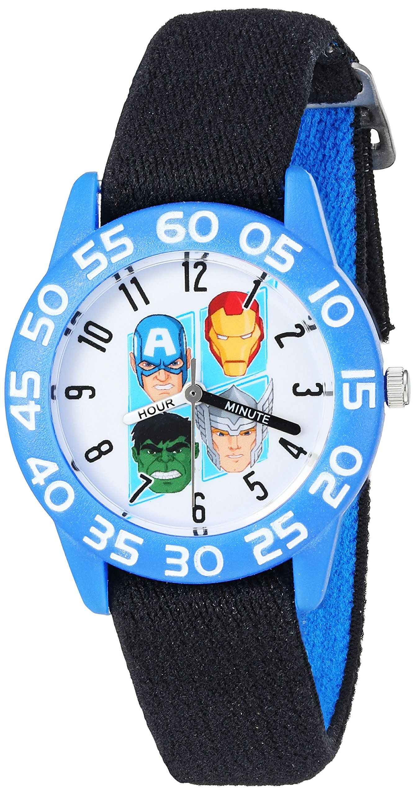 Marvel Boy's 'Captain America' Quartz Plastic and Nylon Automatic Watch, Color:Black (Model: W003238). Meets or exceeds all US Government requirements and regulations for Kid's watches. 1 year limited manufacturer's warranty. Analog-quartz Movement. Case Diameter: 32mm. Water Resistant To 30m (100ft): In General, Withstands Splashes or Brief Immersion In Water, but not Suitable for Swimming or Bathing.