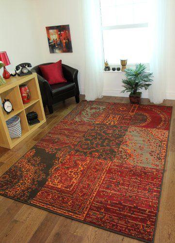 Milan Red Brown Orange Grey Traditional Rug 1572 S52 8 Sizes Co Uk Kitchen Home
