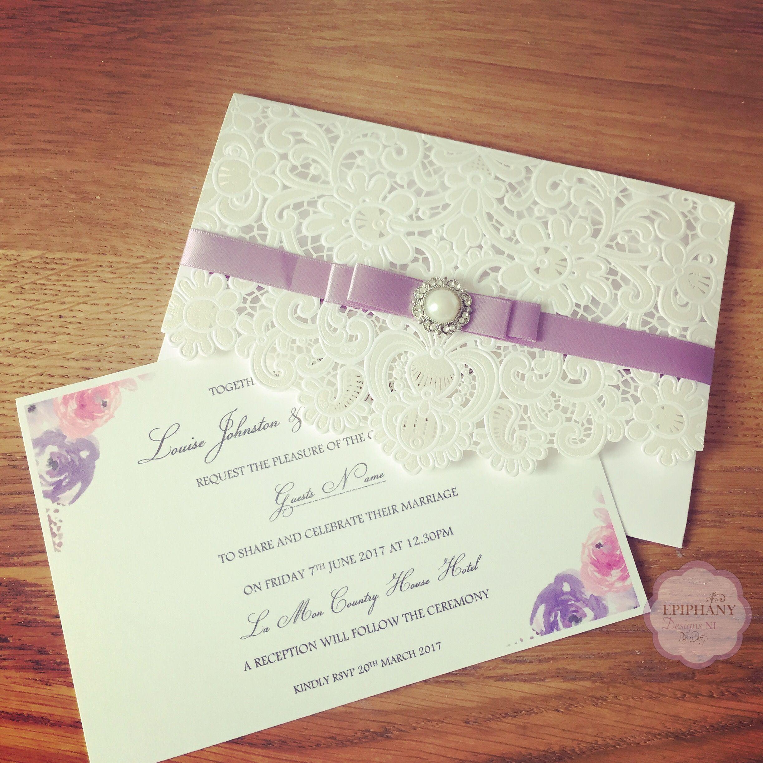 Lasercut Wedding Invitation Pocketfold With Floral Design Pastel