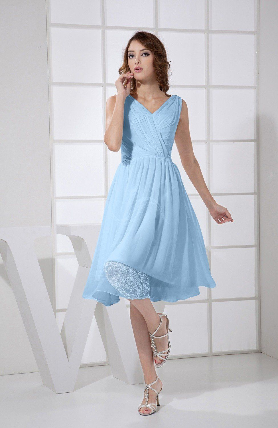 Sky Blue Prom Dress - Plain A-line V-neck Sleeveless Knee Length ...