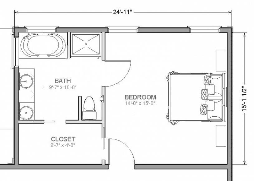 Planos de dormitorios con bano y vestidor con medidas for Banos completos medidas
