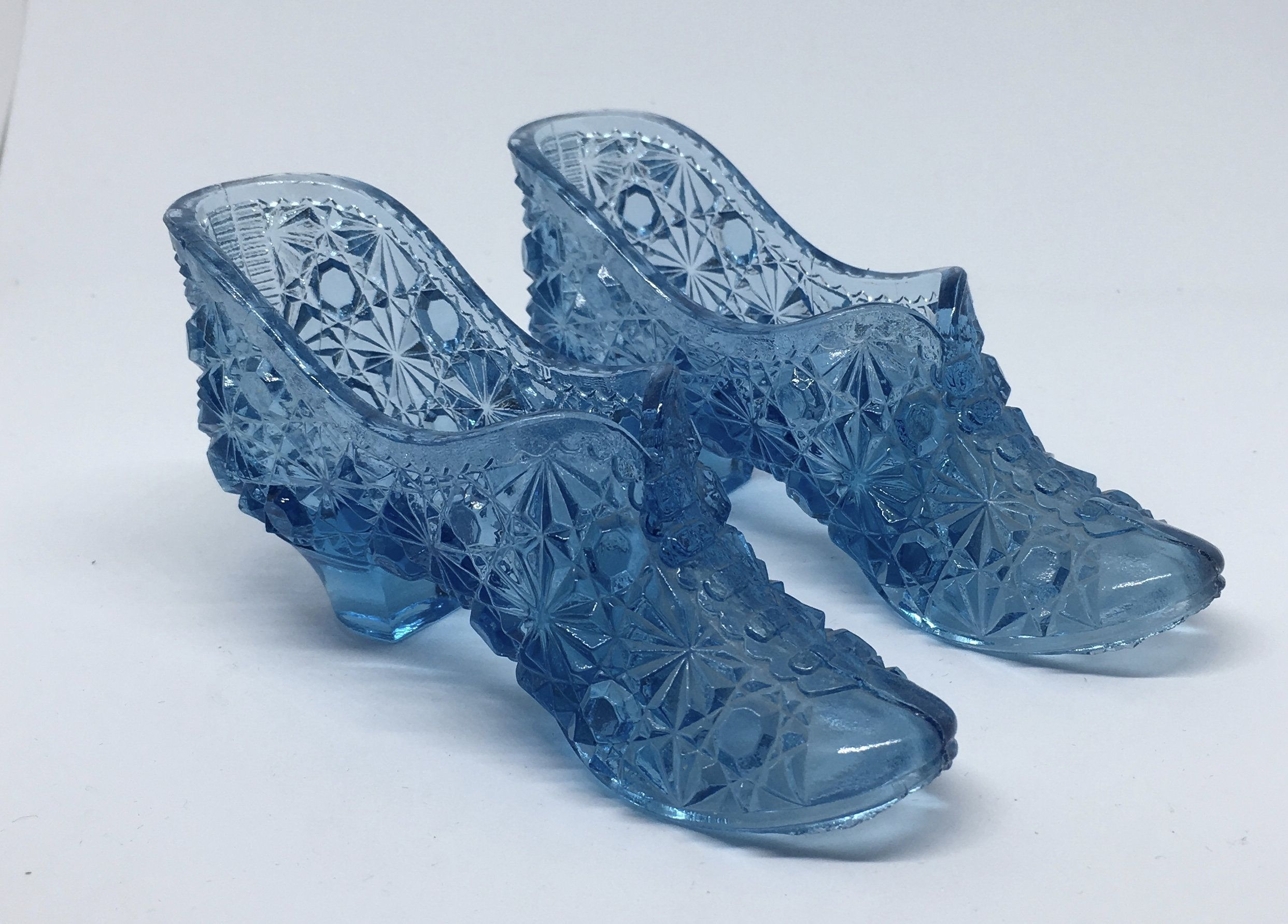 Pair of Light Blue Uranium Glass Daisy and Dot Slippers - Two Blue ...