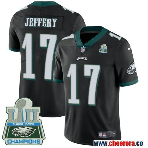 Men's Nike Philadelphia Eagles #17 Alshon Jeffery Black Alternate Super Bowl LII Vapor Untouchable Limited Jersey