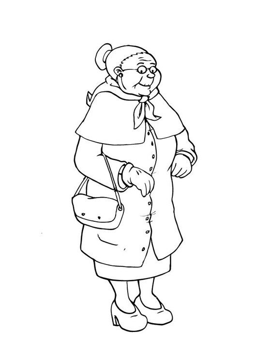 Dibujo para colorear abuela | Salón de clase | Pinterest | Abuelas ...
