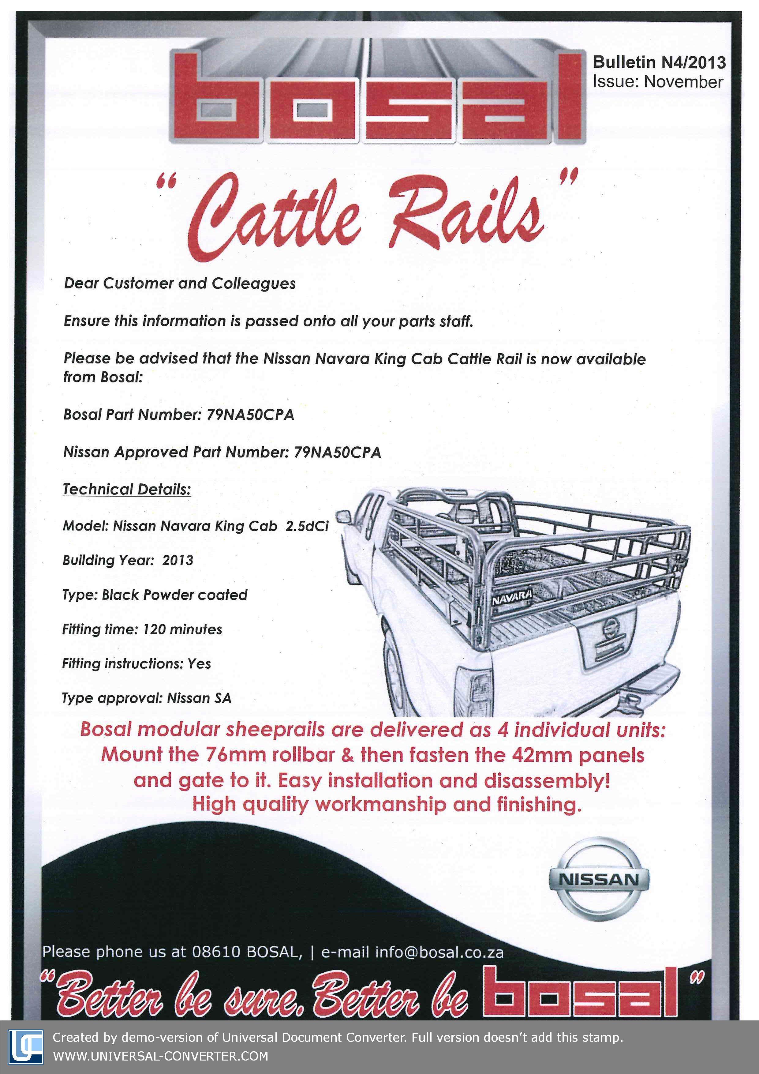 Cattle Rails - Nissan Navara King Cab | BOSAL General | Pinterest