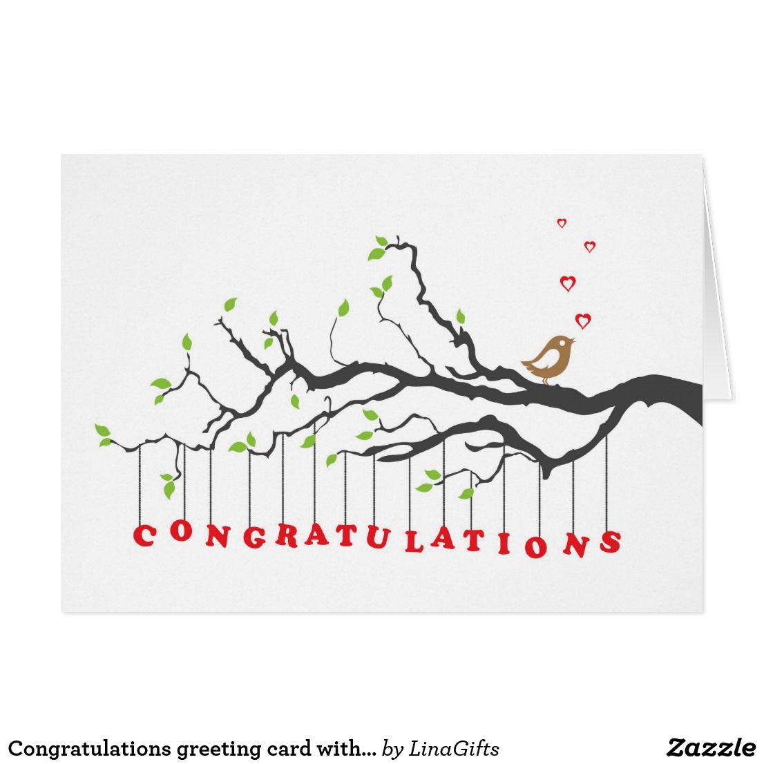 Congratulations Greeting Card With Bird Singing Vector