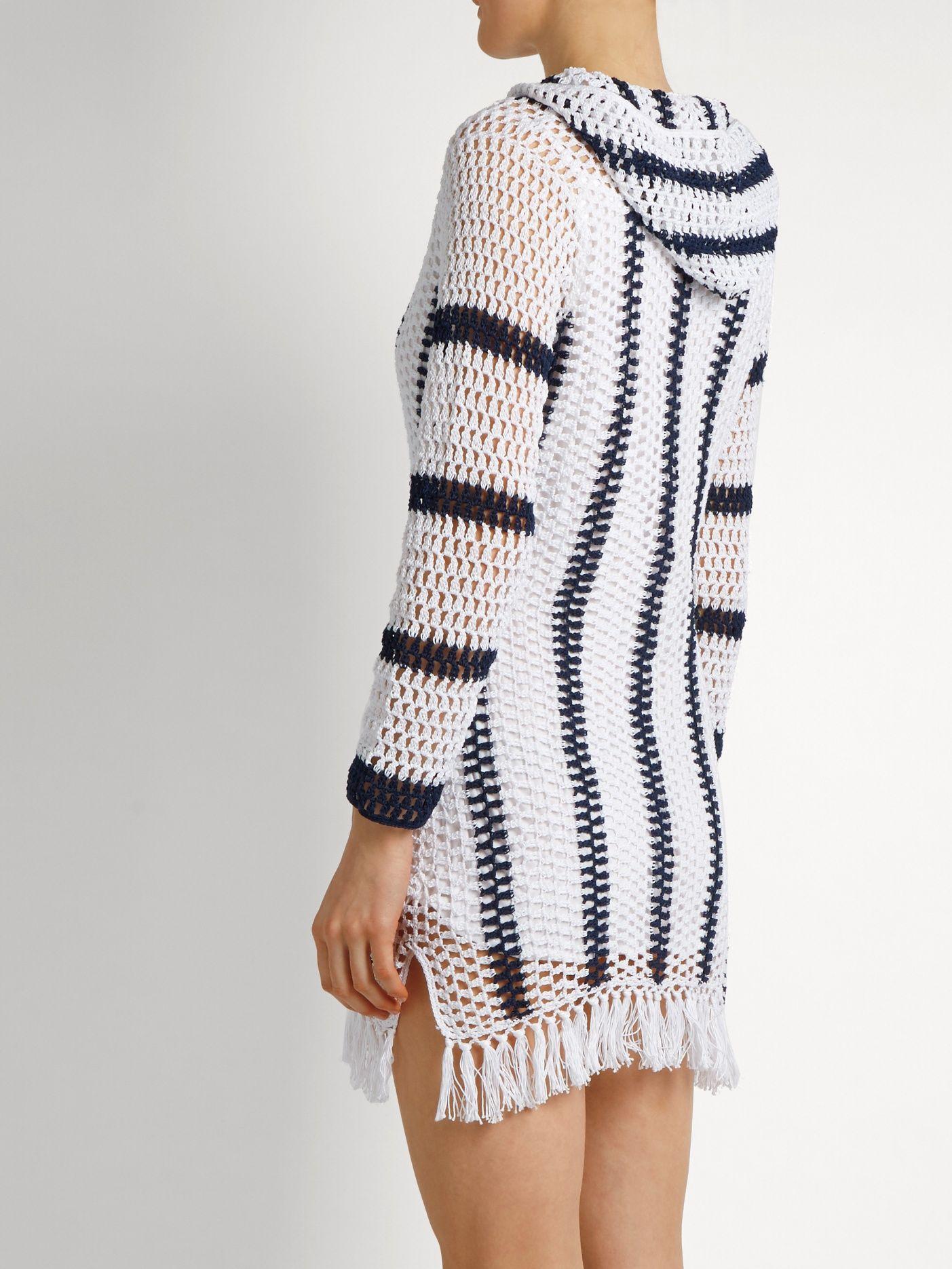 Click here to buy Anna Kosturova Cape Cod striped-crochet hooded ...