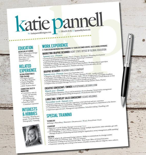 The Katie Lyn Signature Resume Template Design  Graphic Design