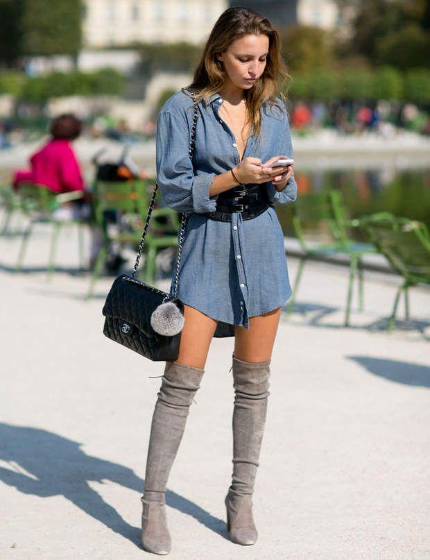 Street looks Fashion Week Paris prêt-à-porter printemps-été 2016 en 2019   Robe avec bottes ...