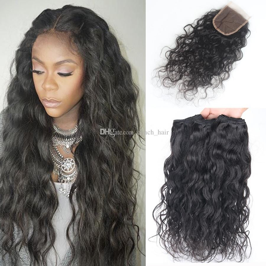 8A Brazilian Water Wave Hair With Closure 3 Bundles With Closure Brazilian  Wet And Wavy Hair With Closure Wavy Human Hair c047edaaa7