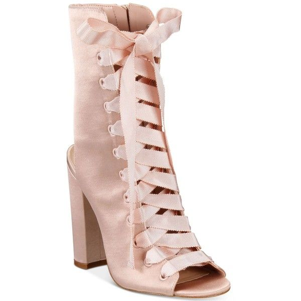 38843edd8d8 Aldo Rosamilia Lace-Up Block-Heel Booties ($110) ❤ liked on Polyvore  featuring shoes, boots, ankle booties, light pink, block heel booties,  vintage style ...