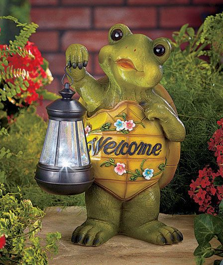 Outdoor Yard Garden Lawn Turtle Owl Frog Statue Figure Solar Lantern Decor  Patio
