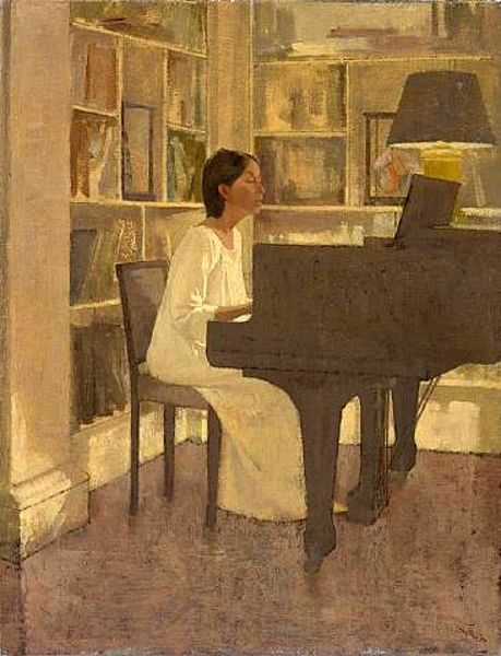 Cozyhuarique Figure Painting Piano Art Painting