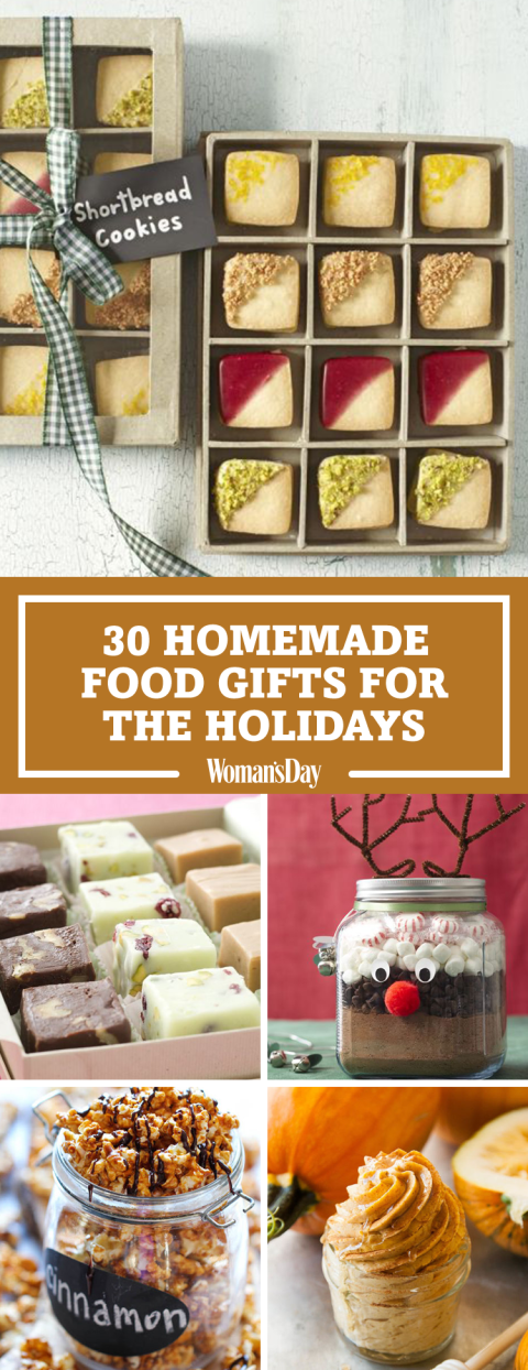 Save these homemade food gift ideas for later by pinning this image and  follow Woman's Day - Homemade Food Gifts You Can Make Last-Minute Christmas Christmas