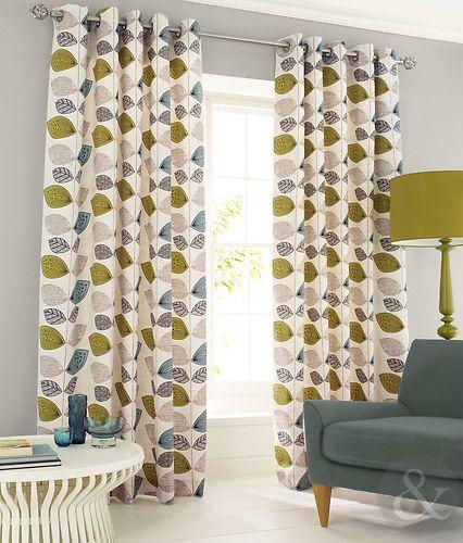 Abstract Leaf Curtain Pair Green Teal Blue Cream Heavy Eyelet