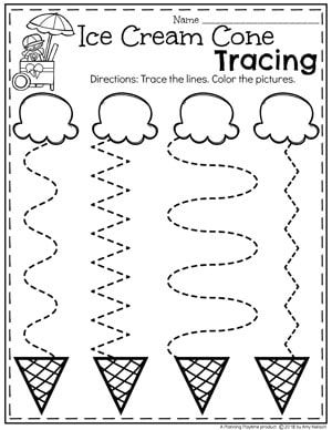 Preschool Tracing Worksheets in an Ice Cream Theme #