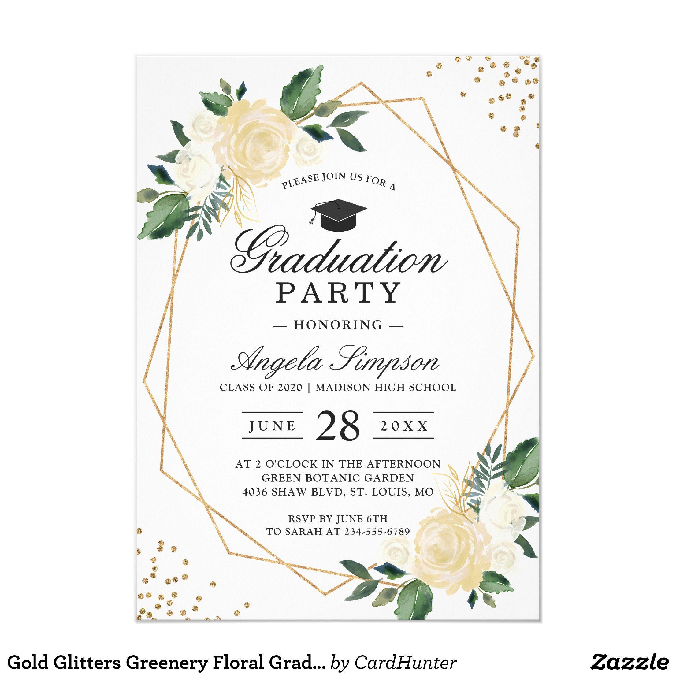 Photo of Gold Glitters Greenery Floral Graduation Party Invitation | Zazzle.com