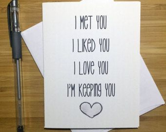 Romantic card funny love card anniversary card love greeting