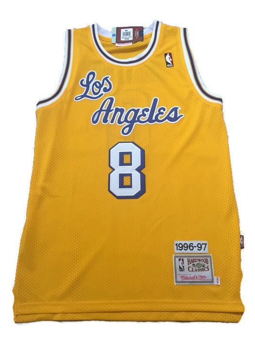 4c5c979fc NBA Los Angeles Lakers Kobe Bryant Yellow Throwback Classic Sewn Jersey NWT   MitchellNess  LosAngelesLakers