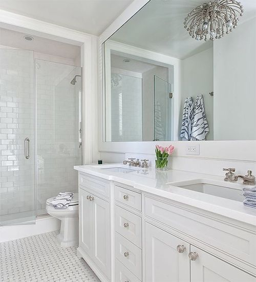 Photography Gallery Sites all white bathroom with large mirror