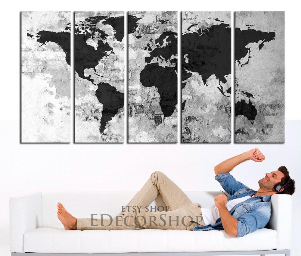 Canvas print white backgrounded black world map framed 5 panel canvas print white backgrounded black world map framed 5 panel canvas old wall on world gumiabroncs Images